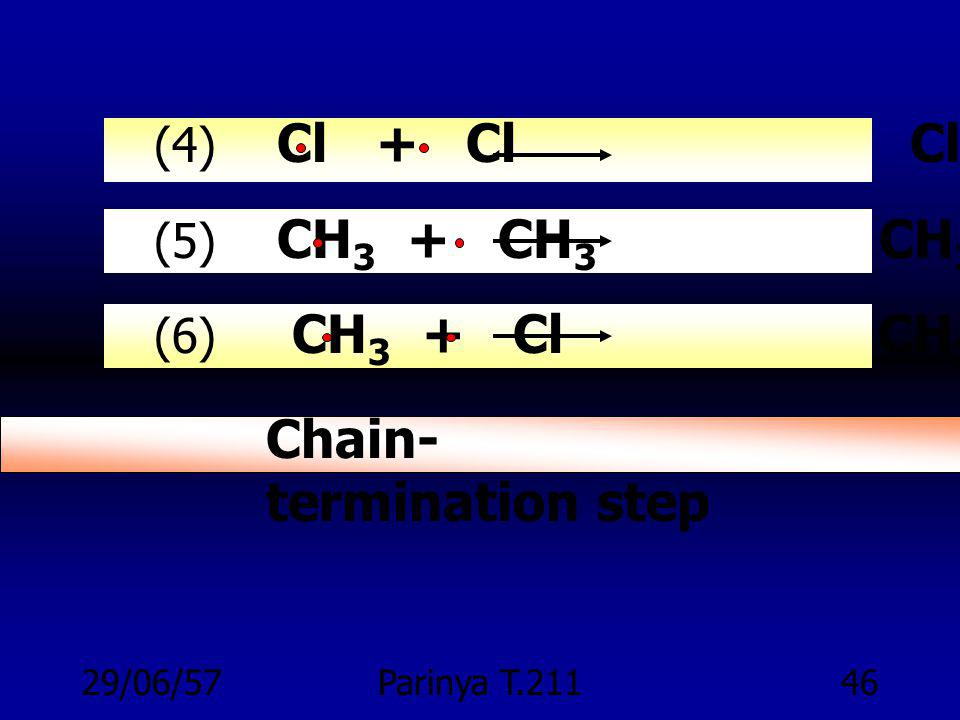 29/06/57Parinya T.21145 รวมทุกขั้นของปฏิกริยา Chlorination (1) Cl 2 2 Cl Chain-initiation step (2) Cl + CH 4 HCl + CH 3 (3) CH 3 + Cl 2 CH 3 Cl + Cl C