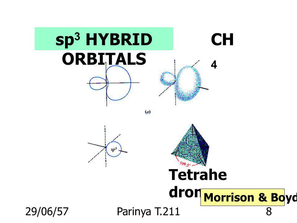 29/06/57Parinya T.2118 sp 3 HYBRID ORBITALS Tetrahe dron CH 4 Morrison & Boyd p. 16