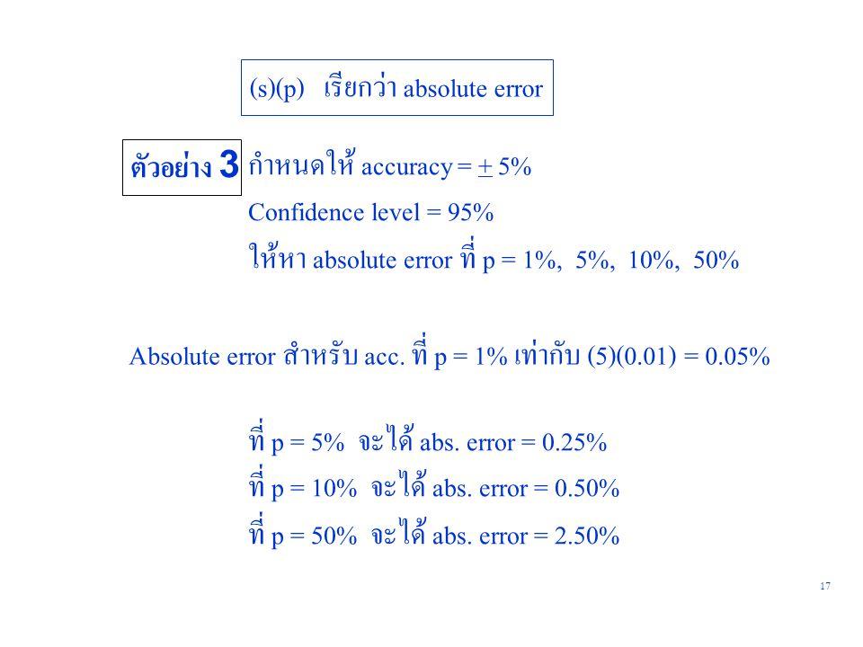 17 (s)(p) เรียกว่า absolute error ตัวอย่าง 3 กำหนดให้ accuracy = + 5% Confidence level = 95% ให้หา absolute error ที่ p = 1%, 5%, 10%, 50% Absolute er