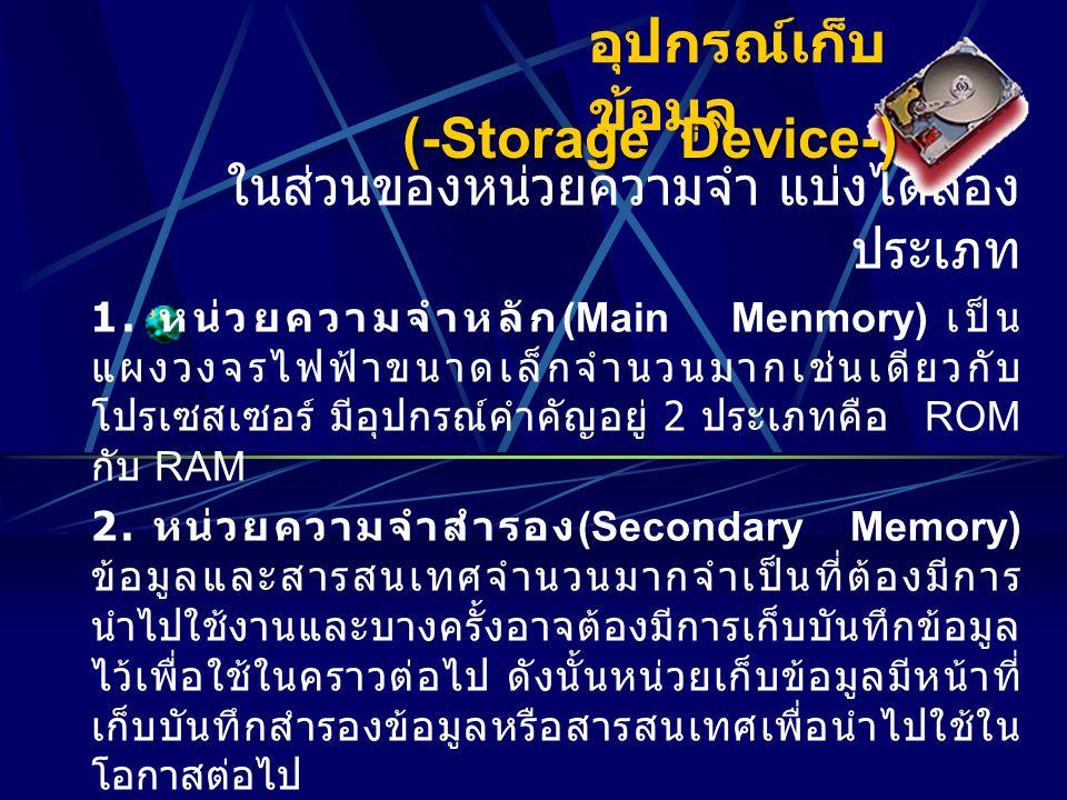 อุปกรณ์เก็บ ข้อมูล ในส่วนของหน่วยความจำ แบ่งได้สอง ประเภท 1.