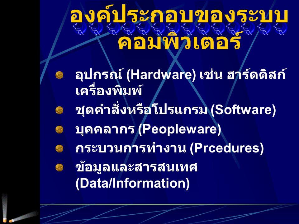 อุปกรณ์ (Hardware) เช่น ฮาร์ดดิสก์ เครื่องพิมพ์ ชุดคำสั่งหรือโปรแกรม (Software) บุคคลากร (Peopleware) กระบวนการทำงาน (Prcedures) ข้อมูลและสารสนเทศ (Data/Information) องค์ประกอบของระบบ คอมพิวเตอร์