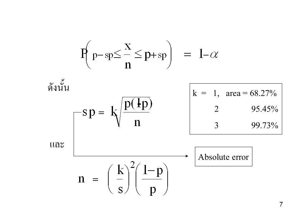 8 ตัวอย่าง 1 จงหาสัดส่วนและเวลาว่างงานของ พนักงานแผนกซ่อมบำรุง ซึ่งมี 5 คน เมื่อสุ่มสังเกตจำนวน 300 ครั้ง พบว่าว่างงาน 90 ครั้ง เมื่อกำหนดระดับ ความเชื่อมั่น 95% อัตราส่วนการว่างงาน=p =90/300=0.30 ที่ความเชื่อมั่น 95% จะมีพื้นที่ใต้โค้ง + 2 