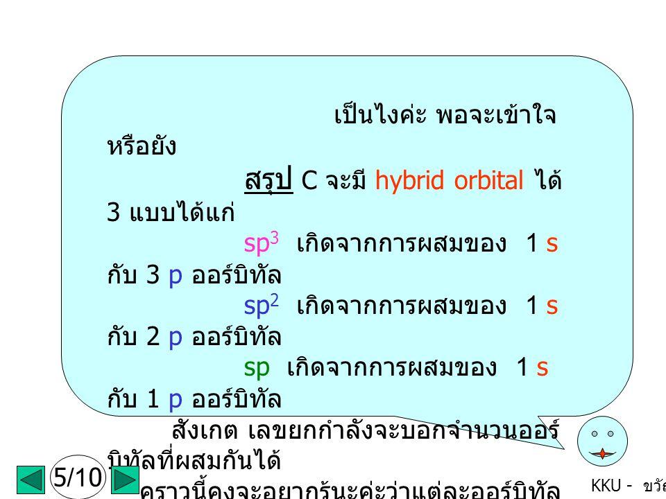 KKU - ขวัญใจ เป็นไงค่ะ พอจะเข้าใจ หรือยัง สรุป C จะมี hybrid orbital ได้ 3 แบบได้แก่ sp 3 เกิดจากการผสมของ 1 s กับ 3 p ออร์บิทัล sp 2 เกิดจากการผสมของ 1 s กับ 2 p ออร์บิทัล sp เกิดจากการผสมของ 1 s กับ 1 p ออร์บิทัล สังเกต เลขยกกำลังจะบอกจำนวนออร์ บิทัลที่ผสมกันได้ คราวนี้คงจะอยากรู้นะค่ะว่าแต่ละออร์บิทัล ลูกผสมที่เกิดใหม่นี้ มีรูปร่าง และจัดเรียงตัวกัน อย่างไร ไปกันเลยนะค่ะ (click mouse ค่ะ ) 5/10
