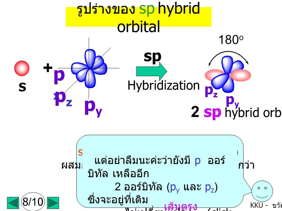 KKU - ขวัญใจ s 1 ออร์บิทัล กับ p 1 ออร์บิทัล (1p x ) ผสมกันเกิดเป็นออร์บิทัลลูกผสมใหม่ เรียกว่า sp hybrid orbital มี 2 ออร์บิทัล (click mouse ค่ะ ) รูปร่างของ sp hybrid orbital S pxpx pzpz pypy + sp Hybridization 8/10 180 o 2 sp hybrid orbitals จะเห็นว่าแต่ละออร์บิทัลจะ จัดตัวเอง ให้ไกลกันมากที่สุด ซึ่งจะได้ รูปร่างเป็น เส้นตรง (linear) โดยแต่ละออร์บิทัลทำมุม กัน 180 o p y p z แต่อย่าลืมนะค่ะว่ายังมี p ออร์ บิทัล เหลืออีก 2 ออร์บิทัล (p y และ p z ) ซึ่งจะอยู่ที่เดิม ไม่เปลี่ยนแปลง (click mouse ค่ะ )