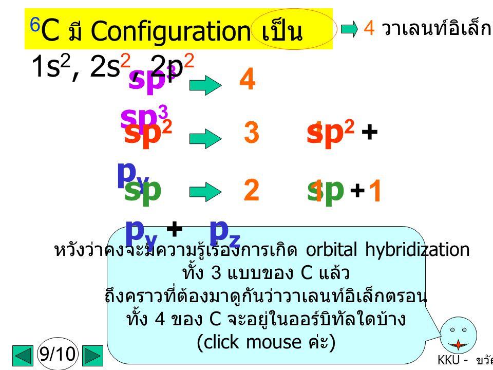 KKU - ขวัญใจ 9/10 หวังว่าคงจะมีความรู้เรื่องการเกิด orbital hybridization ทั้ง 3 แบบของ C แล้ว ถึงคราวที่ต้องมาดูกันว่าวาเลนท์อิเล็กตรอน ทั้ง 4 ของ C จะอยู่ในออร์บิทัลใดบ้าง (click mouse ค่ะ ) 4 31 sp 3 sp 3 sp 2 sp 2 + p y sp sp + p y + p z 2 11 6 C มี Configuration เป็น 1s 2, 2s 2, 2p 2 4 วาเลนท์อิเล็กตรอน