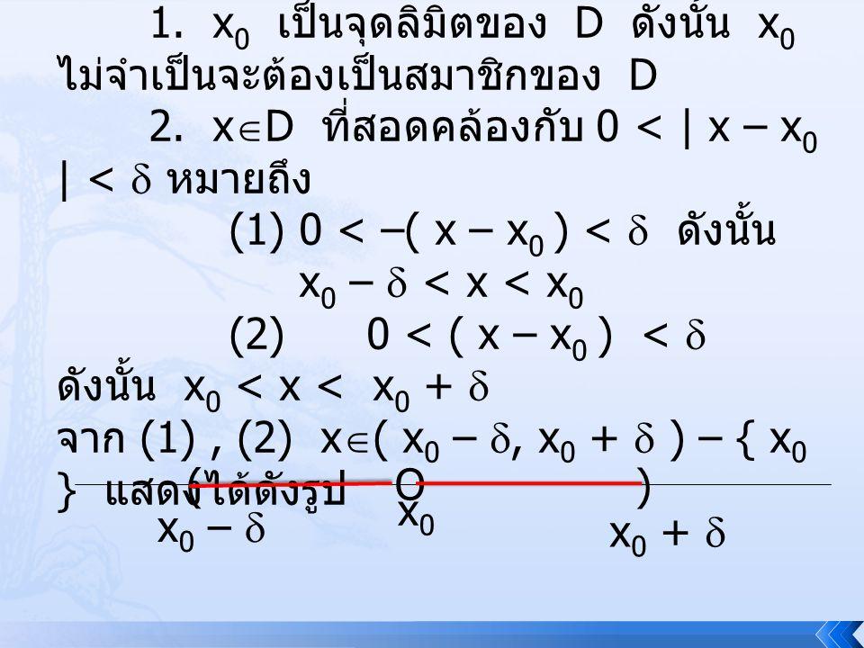 ข้อสังเกต 1. x 0 เป็นจุดลิมิตของ D ดังนั้น x 0 ไม่จำเป็นจะต้องเป็นสมาชิกของ D 2. x  D ที่สอดคล้องกับ 0 < | x – x 0 | <  หมายถึง (1)0 < –( x – x 0 )