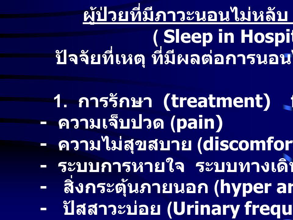 ผู้ป่วยที่มีภาวะนอนไม่หลับ ใน โรงพยาบาล ( Sleep in Hospitals) ปัจจัยที่เหตุ ที่มีผลต่อการนอนไม่หลับของผู้ป่วย (Judith A Floyd, 1999) 1.