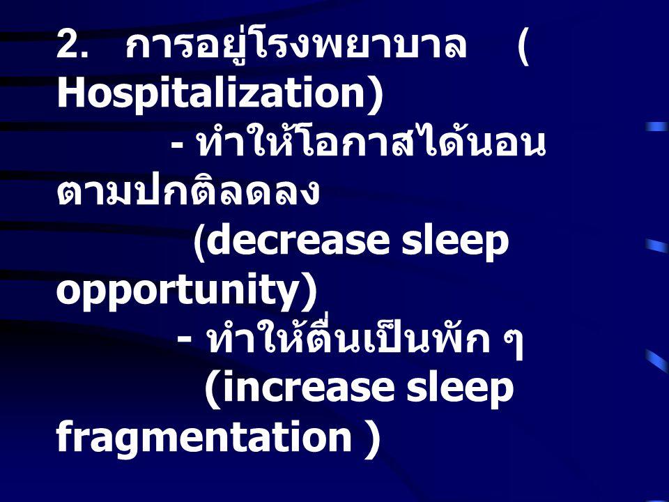 2. การอยู่โรงพยาบาล ( Hospitalization) - ทำให้โอกาสได้นอน ตามปกติลดลง (decrease sleep opportunity) - ทำให้ตื่นเป็นพัก ๆ (increase sleep fragmentation