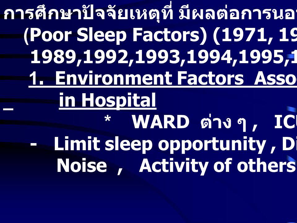 การศึกษาปัจจัยเหตุที่ มีผลต่อการนอนไม่หลับในโรงพยาบาล (Poor Sleep Factors) (1971, 1972, 1976, 1980,1987, 1989,1992,1993,1994,1995,1996 ) 1.