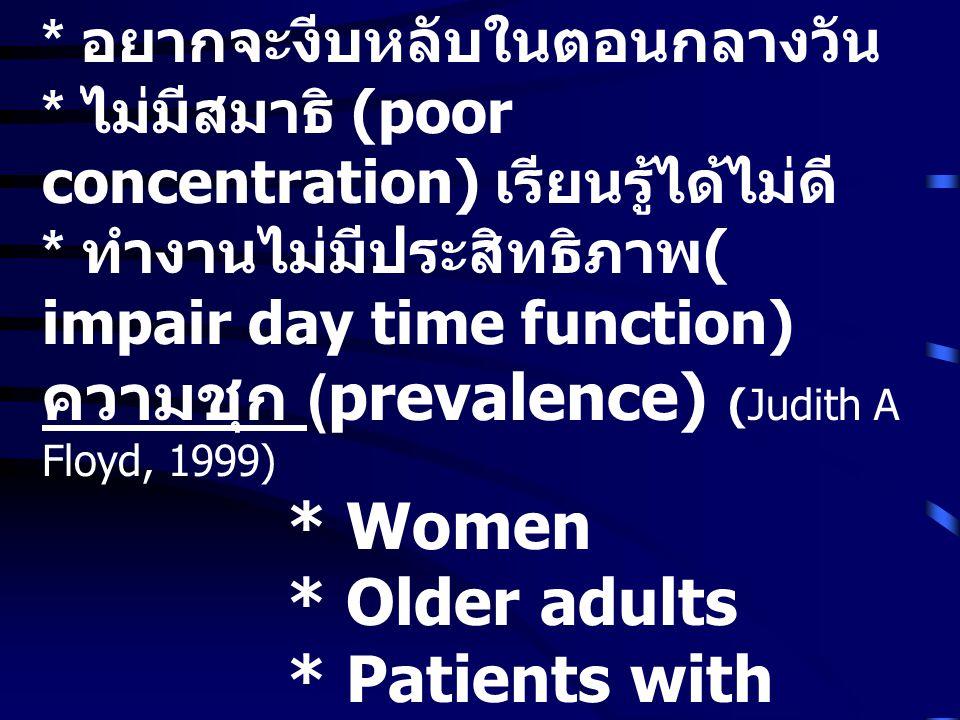 * อยากจะงีบหลับในตอนกลางวัน * ไม่มีสมาธิ (poor concentration) เรียนรู้ได้ไม่ดี * ทำงานไม่มีประสิทธิภาพ ( impair day time function) ความชุก (prevalence) (Judith A Floyd, 1999) * Women * Older adults * Patients with Medical or Psychiatric Disorders ประชากรไทย ร้อยละ 15.