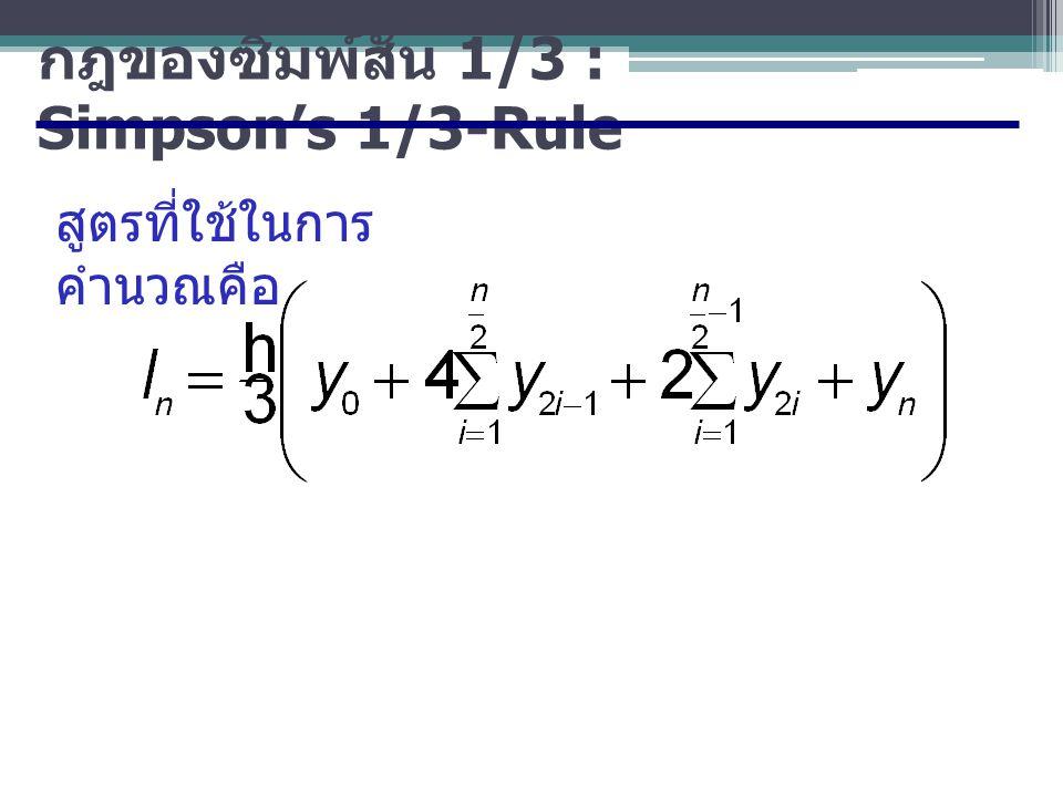 กฎของซิมพ์สัน 1/3 : Simpson's 1/3-Rule สูตรที่ใช้ในการ คำนวณคือ