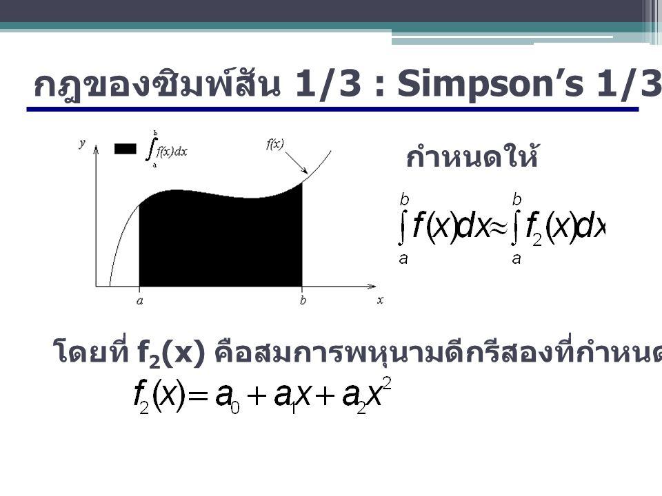 กฎของซิมพ์สัน 1/3 : Simpson's 1/3-Rule กำหนดให้ โดยที่ f 2 (x) คือสมการพหุนามดีกรีสองที่กำหนดโดย