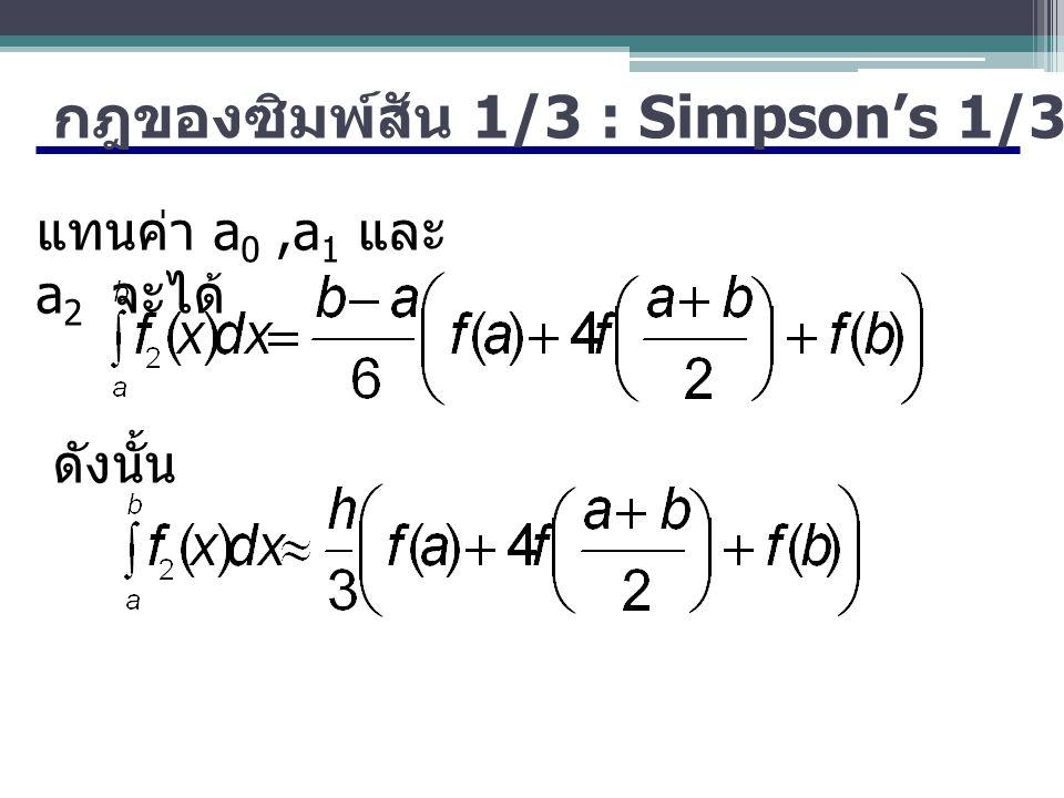 กฎของซิมพ์สัน 1/3 : Simpson's 1/3-Rule แทนค่า a 0,a 1 และ a 2 จะได้ ดังนั้น