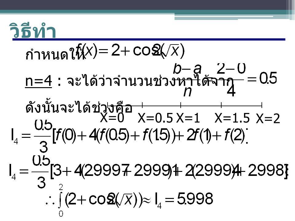 วิธีทำ กำหนดให้ n=4 : จะได้ว่าจำนวนช่วงหาได้จาก ดังนั้นจะได้ช่วงคือ X=0 X=2 X=0.5X=1X=1.5