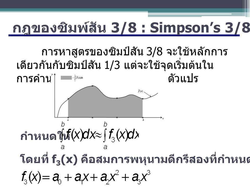 กฎของซิมพ์สัน 3/8 : Simpson's 3/8-Rule การหาสูตรของซิมป์สัน 3/8 จะใช้หลักการ เดียวกันกับซิมป์สัน 1/3 แต่จะใช้จุดเริ่มต้นใน การคำนวณ 4 จุดและแก้สมการ 4