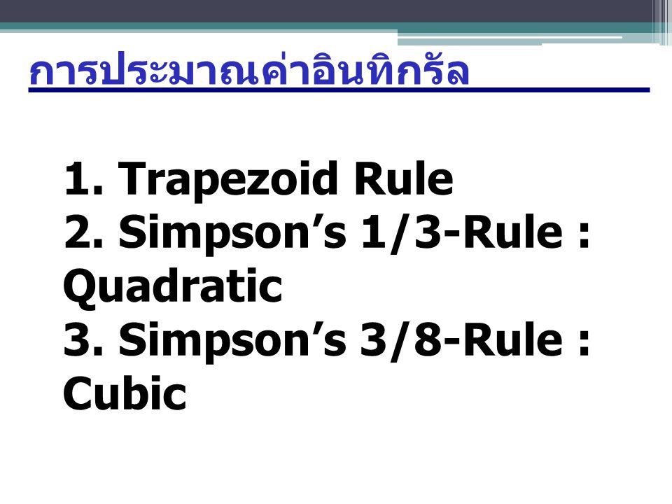 กฎสี่เหลี่ยมคางหมู : Trapezoid Rule x 0 =ax1x1 x2x2 x3x3 x n= =b Area of Trapezoid: ดังนั้นหากต้องการค่าอินทิกรัลทั้งหมดให้นำ พื้นที่สี่เหลี่ยมทุกอันมารวมกัน