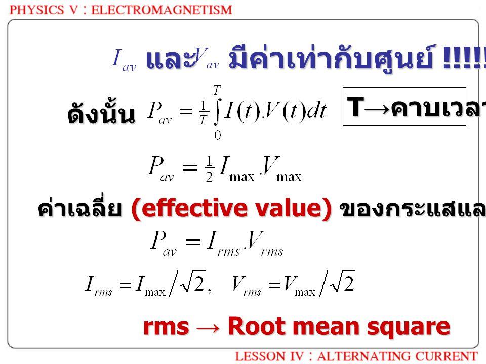 และ มีค่าเท่ากับศูนย์ !!!!! ดังนั้น T → คาบเวลา ค่าเฉลี่ย (effective value) ของกระแสและความต่างศักย์ rms → Root mean square