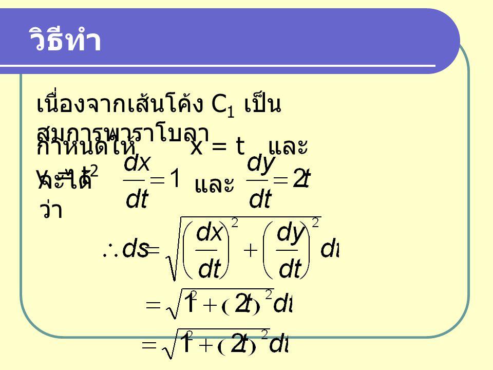 เนื่องจากเส้นโค้ง C 1 เป็น สมการพาราโบลา วิธีทำ กำหนดให้ x = t และ y = t 2 จะได้ ว่า และ