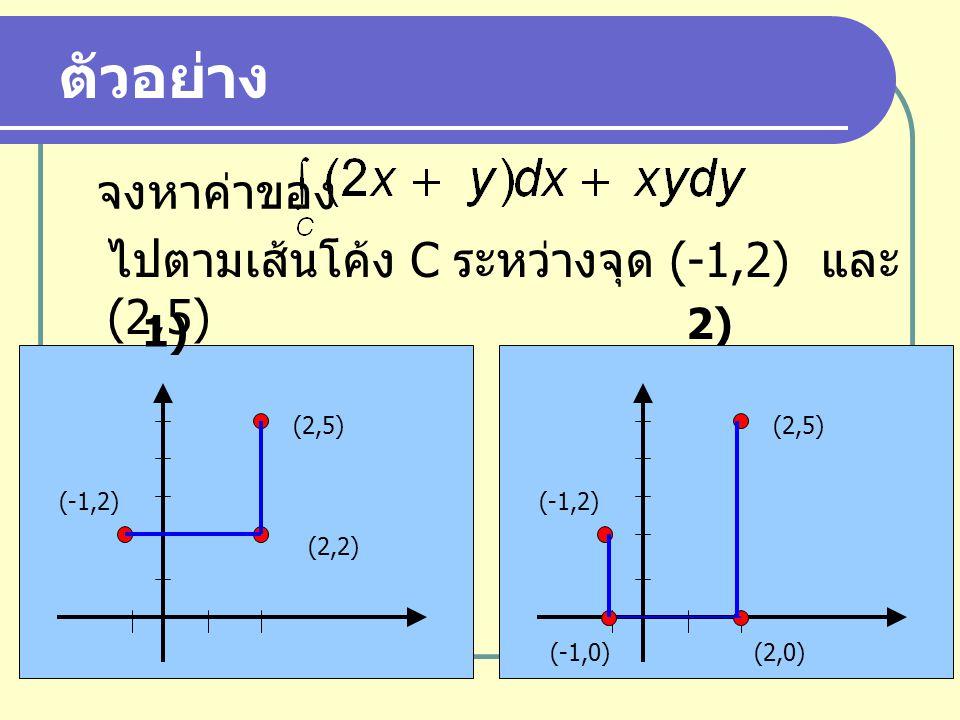 จงหาค่าของ ไปตามเส้นโค้ง C ระหว่างจุด (-1,2) และ (2,5) ตัวอย่าง (-1,2) (2,2) (2,5) 1) 2) (-1,2) (2,0) (2,5) (-1,0)