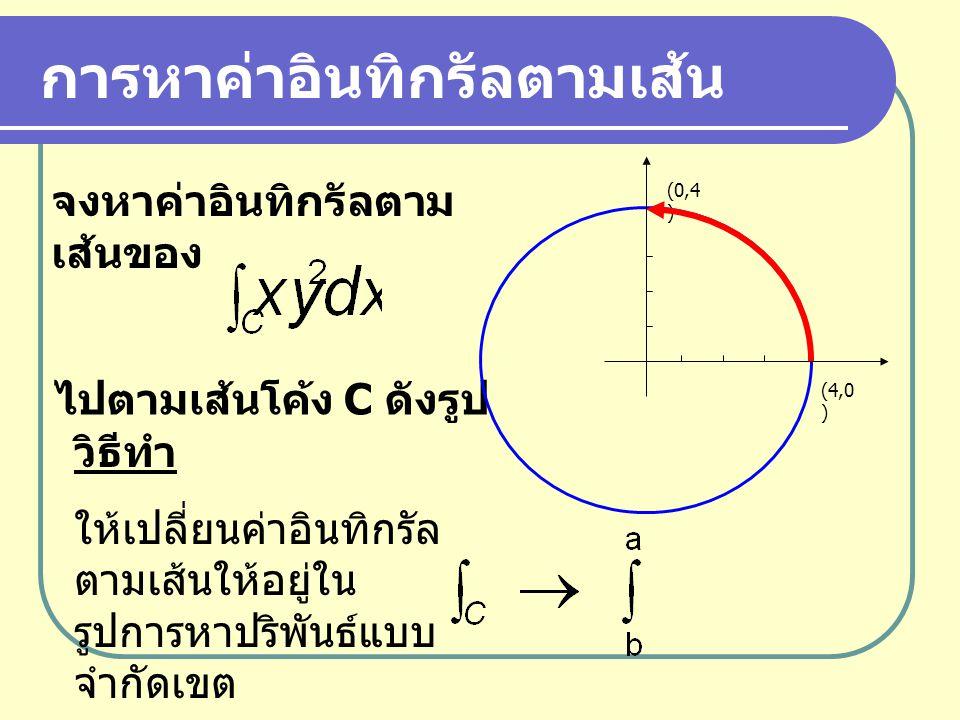 การหาค่าอินทิกรัลตามเส้น ไปตามเส้นโค้ง C ดังรูป (4,0 ) (0,4 ) วิธีทำ ให้เปลี่ยนค่าอินทิกรัล ตามเส้นให้อยู่ใน รูปการหาปริพันธ์แบบ จำกัดเขต จงหาค่าอินทิ
