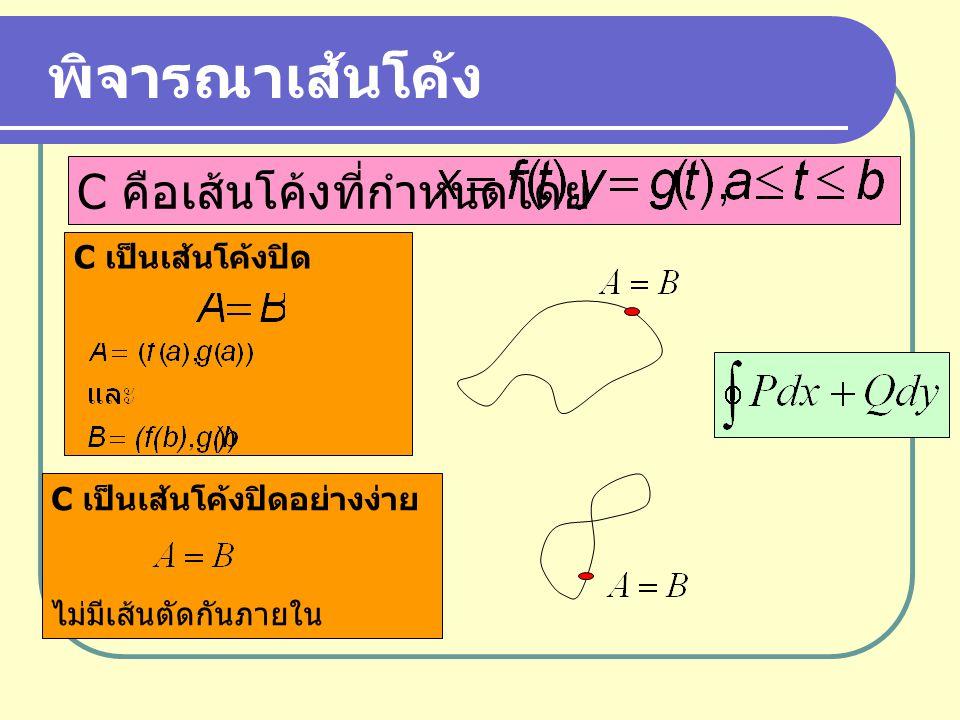 C เป็นเส้นโค้งปิด C เป็นเส้นโค้งปิดอย่างง่าย ไม่มีเส้นตัดกันภายใน พิจารณาเส้นโค้ง C คือเส้นโค้งที่กำหนดโดย