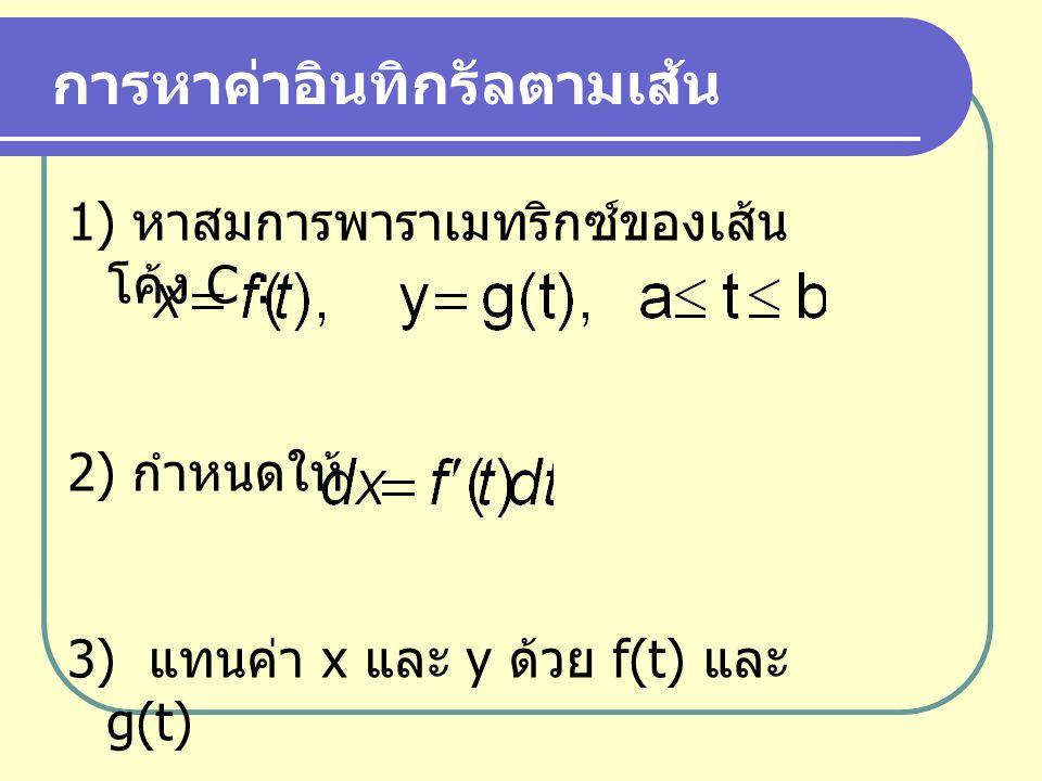 หลักการในการหาค่าอินทิกรัลตามเส้น 1.แบ่ง [a,b] ออกเป็นหลายๆ ช่วง 2.
