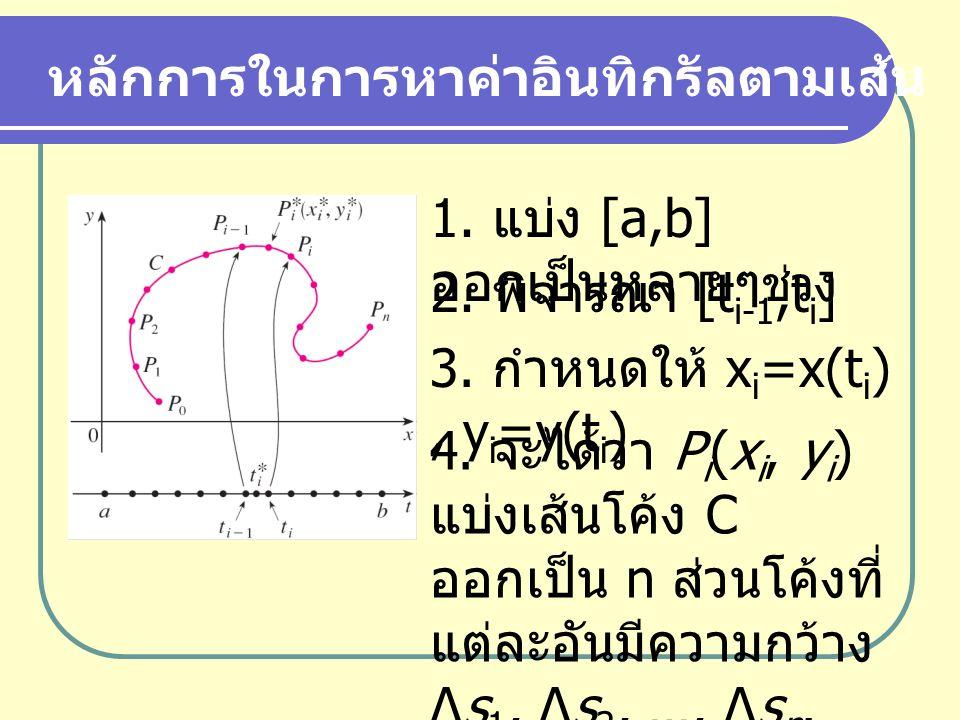 หลักการในการหาค่าอินทิกรัลตามเส้น 1. แบ่ง [a,b] ออกเป็นหลายๆ ช่วง 2. พิจารณา [t i-1,t i ] 3. กำหนดให้ x i =x(t i ), y i =y(t i ) 4. จะได้ว่า P i (x i,