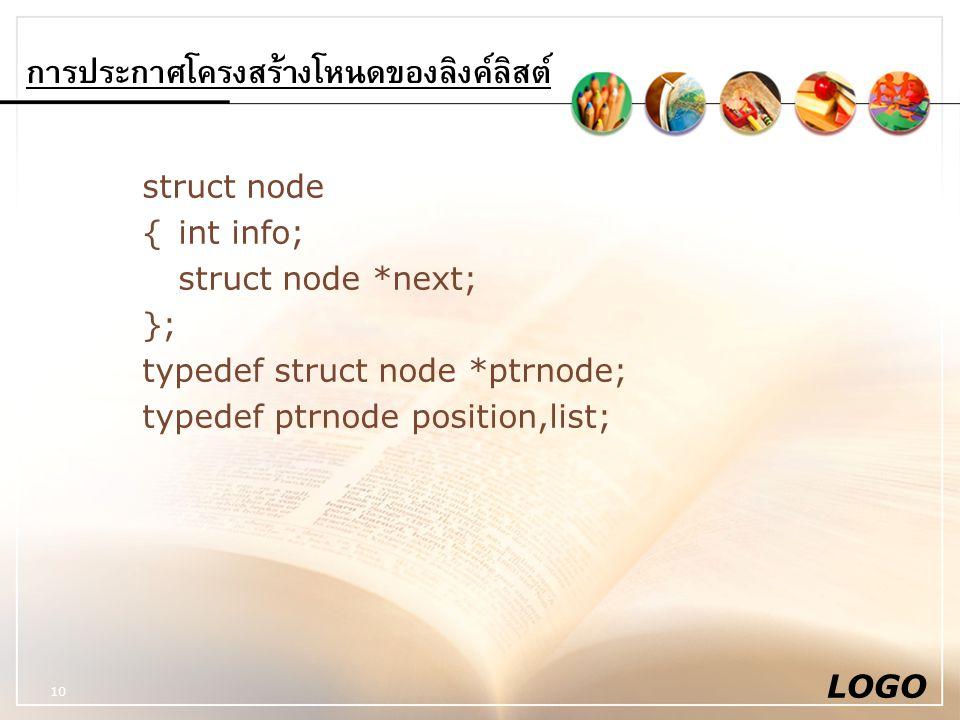 LOGO 10 การประกาศโครงสร้างโหนดของลิงค์ลิสต์ struct node {int info; struct node *next; }; typedef struct node *ptrnode; typedef ptrnode position,list;