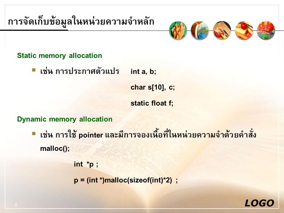LOGO 2 การจัดเก็บข้อมูลในหน่วยความจำหลัก Static memory allocation  เช่น การประกาศตัวแปรint a, b; char s[10], c; static float f; Dynamic memory allocation  เช่น การใช้ pointer และมีการจองเนื้อที่ในหน่วยความจำด้วยคำสั่ง malloc(); int *p ; p = (int *)malloc(sizeof(int)*2) ;