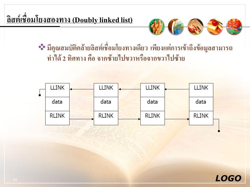 LOGO 21 ลิสต์เชื่อมโยงสองทาง (Doubly linked list)  มีคุณสมบัติคล้ายลิสต์เชื่อมโยงทางเดียว เพียงแต่การเข้าถึงข้อมูลสามารถ ทำได้ 2 ทิศทาง คือ จากซ้ายไปขวาหรือจากขวาไปซ้าย LLINK data RLINK LLINK data RLINK LLINK data RLINK LLINK data RLINK
