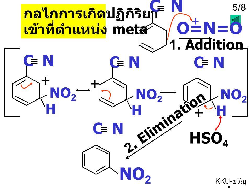 KKU- ขวัญ ใจ 4/8 + C N Benzonitrile - C N - + - + NO 2 + ได้ product เข้าที่ตำแหน่ง m เหตุผลที่ E + เข้าที่ตำแหน่ง m หมู่ -CN จะดึงอิเล็กตรอนจากในวงเบนซีนโดยดึงผ่านพันธะสาม ทำให้เกิดประจุ + ขึ้นในวง และอิเล็กตรอนจากพันธะคู่จะ delocalize ไปที่ + (E + = NO 2 ) + ข้อสังเกตประจุ + จะอยู่ที่ตำแหน่ง O และ P ทำให้ E + แทนที่ที่สองตำแหน่งนี้ ไม่ได้