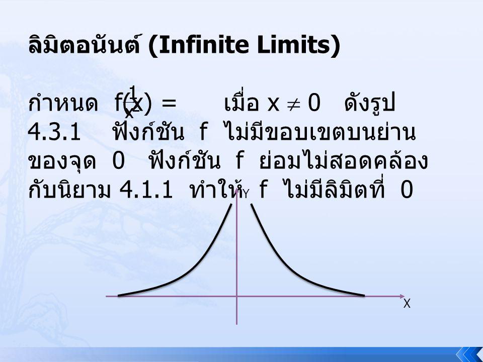 ลิมิตอนันต์ (Infinite Limits) กำหนด f(x) = เมื่อ x  0 ดังรูป 4.3.1 ฟังก์ชัน f ไม่มีขอบเขตบนย่าน ของจุด 0 ฟังก์ชัน f ย่อมไม่สอดคล้อง กับนิยาม 4.1.1 ทำ