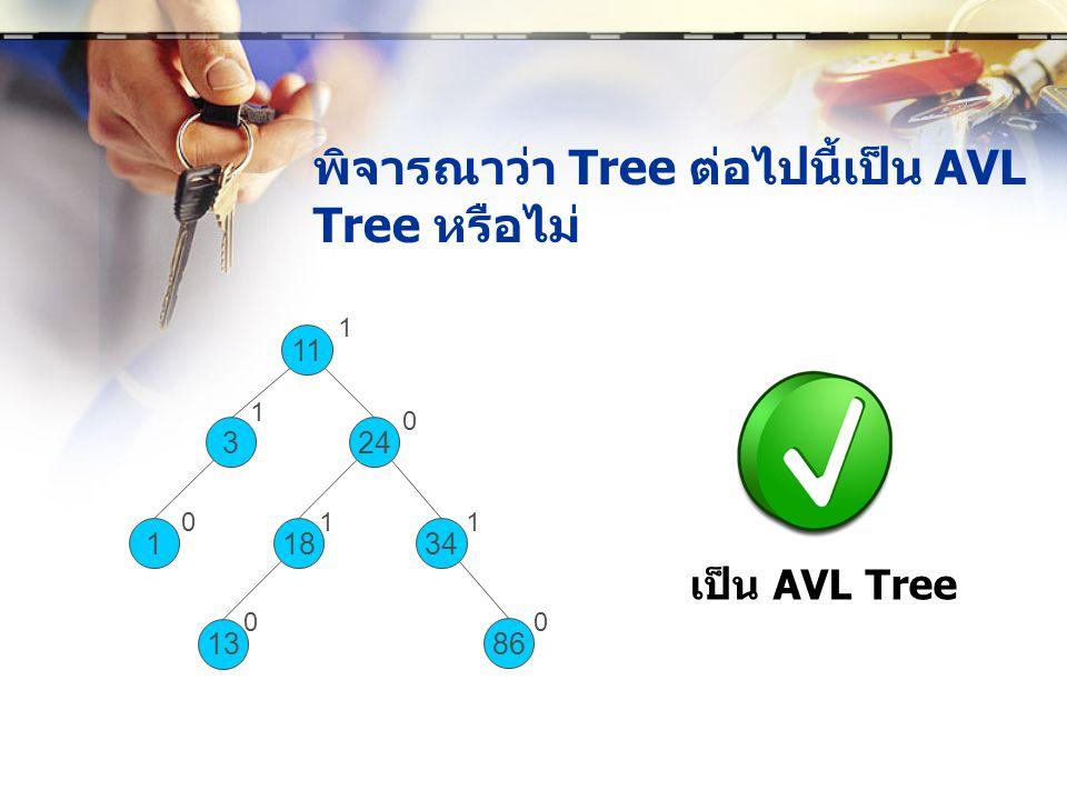 พิจารณาว่า Tree ต่อไปนี้เป็น AVL Tree หรือไม่ 1 11 324 1834 13 86 1 0 110 1 0 0 เป็น AVL Tree