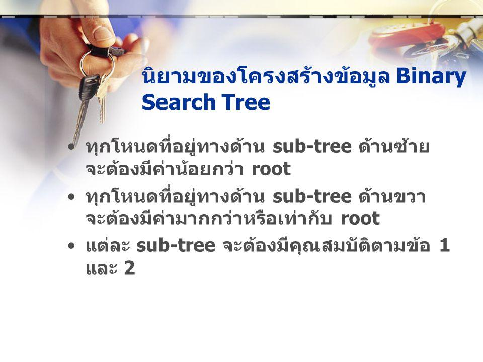 นิยามของโครงสร้างข้อมูล Binary Search Tree • ทุกโหนดที่อยู่ทางด้าน sub-tree ด้านซ้าย จะต้องมีค่าน้อยกว่า root • ทุกโหนดที่อยู่ทางด้าน sub-tree ด้านขวา จะต้องมีค่ามากกว่าหรือเท่ากับ root • แต่ละ sub-tree จะต้องมีคุณสมบัติตามข้อ 1 และ 2