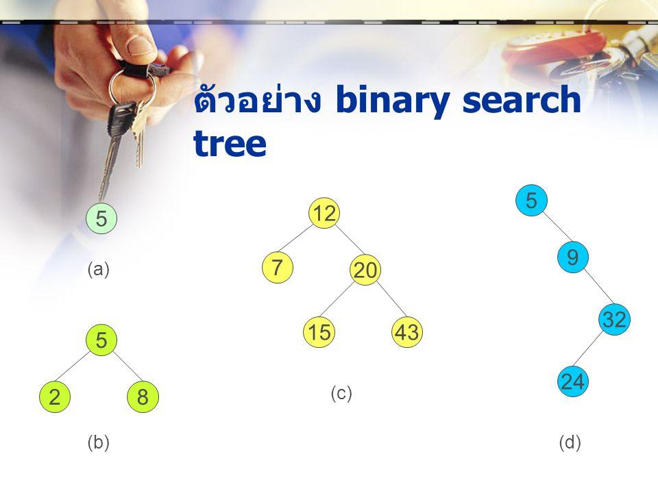 ตัวอย่าง binary search tree 5 5 28 12 7 20 1543 5 9 32 24 (a) (b) (c) (d)