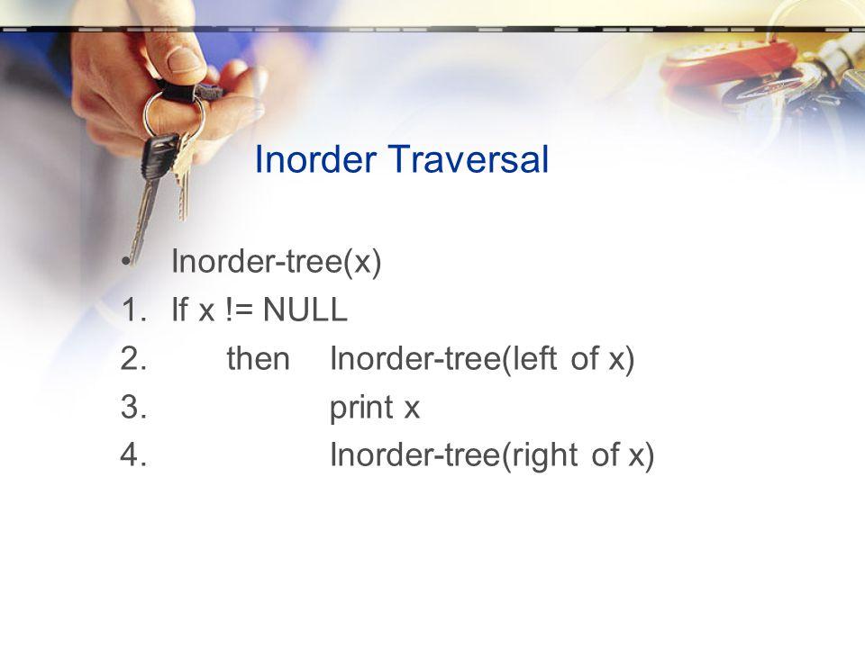 Inorder Traversal •Inorder-tree(x) 1.If x != NULL 2. then Inorder-tree(left of x) 3. print x 4. Inorder-tree(right of x)