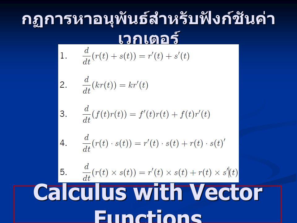 กฏการหาอนุพันธ์สำหรับฟังก์ชันค่า เวกเตอร์ Calculus with Vector Functions