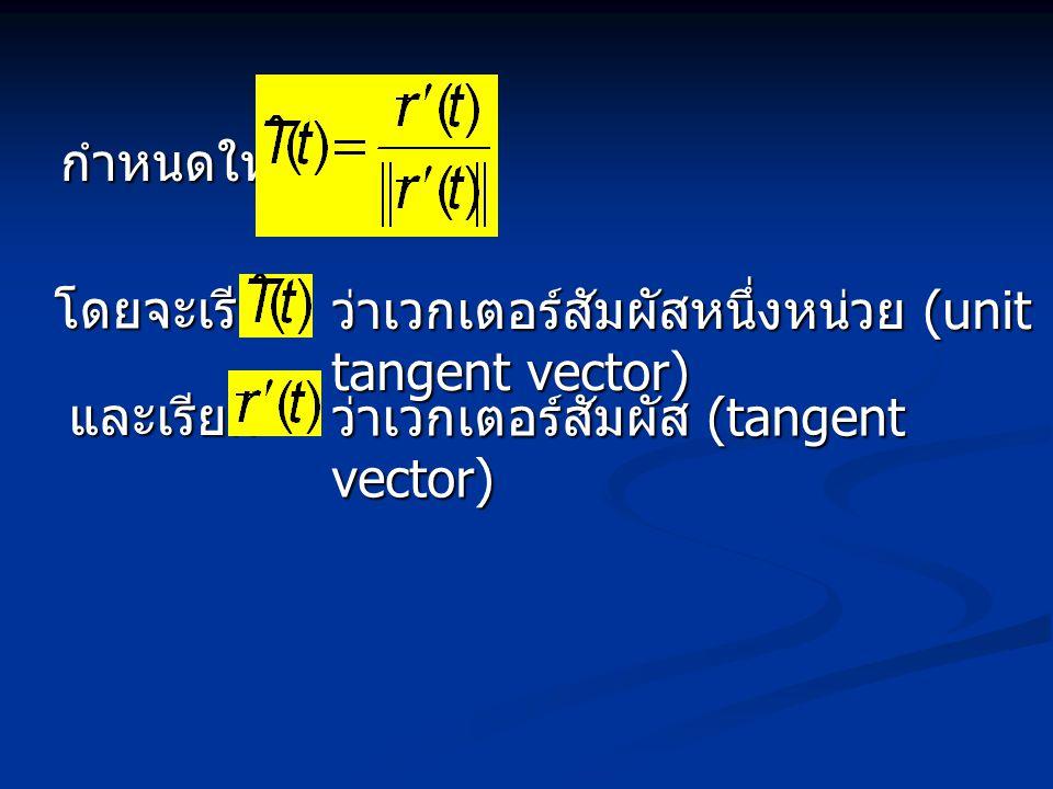 กำหนดให้ โดยจะเรียก ว่าเวกเตอร์สัมผัสหนึ่งหน่วย (unit tangent vector) และเรียก ว่าเวกเตอร์สัมผัส (tangent vector)