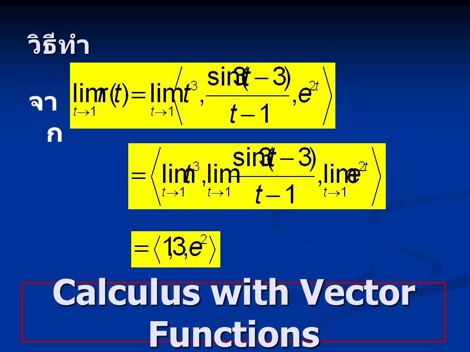 วิธีทำ จา ก Calculus with Vector Functions
