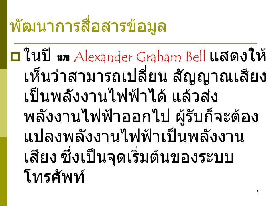3  ในปี 1876 Alexander Graham Bell แสดงให้ เห็นว่าสามารถเปลี่ยน สัญญาณเสียง เป็นพลังงานไฟฟ้าได้ แล้วส่ง พลังงานไฟฟ้าออกไป ผู้รับก็จะต้อง แปลงพลังงานไฟฟ้าเป็นพลังงาน เสียง ซึ่งเป็นจุดเริ่มต้นของระบบ โทรศัพท์ พัฒนาการสื่อสารข้อมูล