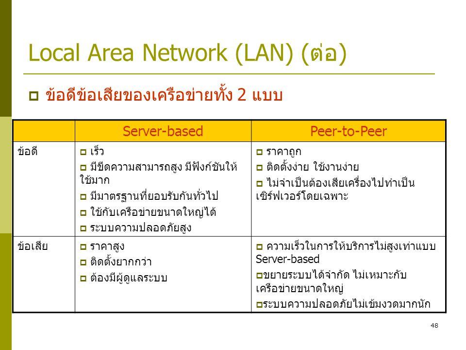 48 Local Area Network (LAN) (ต่อ)  ข้อดีข้อเสียของเครือข่ายทั้ง 2 แบบ Server-basedPeer-to-Peer ข้อดี  เร็ว  มีขีดความสามารถสูง มีฟังก์ชันให้ ใช้มาก  มีมาตรฐานที่ยอบรับกันทั่วไป  ใช้กับเครือข่ายขนาดใหญ่ได้  ระบบความปลอดภัยสูง  ราคาถูก  ติดตั้งง่าย ใช้งานง่าย  ไม่จำเป็นต้องเสียเครื่องไปทำเป็น เซิร์ฟเวอร์โดยเฉพาะ ข้อเสีย  ราคาสูง  ติดตั้งยากกว่า  ต้องมีผู้ดูแลระบบ  ความเร็วในการให้บริการไม่สูงเท่าแบบ Server-based  ขยายระบบได้จำกัด ไม่เหมาะกับ เครือข่ายขนาดใหญ่  ระบบความปลอดภัยไม่เข้มงวดมากนัก