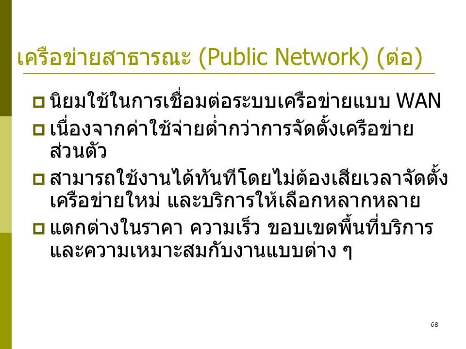 68 เครือข่ายสาธารณะ (Public Network) (ต่อ)  นิยมใช้ในการเชื่อมต่อระบบเครือข่ายแบบ WAN  เนื่องจากค่าใช้จ่ายต่ำกว่าการจัดตั้งเครือข่าย ส่วนตัว  สามารถใช้งานได้ทันทีโดยไม่ต้องเสียเวลาจัดตั้ง เครือข่ายใหม่ และบริการให้เลือกหลากหลาย  แตกต่างในราคา ความเร็ว ขอบเขตพื้นที่บริการ และความเหมาะสมกับงานแบบต่าง ๆ
