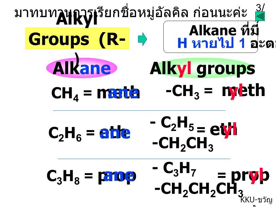 3/73/7 KKU- ขวัญ ใจ AlkaneAlkyl groups CH 4 = meth ane -CH 3 = meth yl C 2 H 6 = eth ane -CH 2 CH 3 - C 2 H 5 = ethyl C 3 H 8 = prop ane -CH 2 CH 2 CH 3 - C 3 H 7 = prop yl มาทบทวนการเรียกชื่อหมู่อัลคิล ก่อนนะค่ะ Alkyl Groups (R- ) Alkane ที่มี H หายไป 1 อะตอม