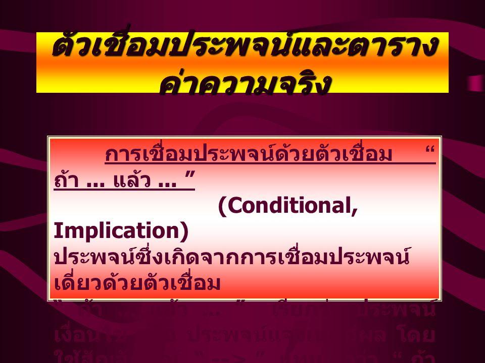 """ตัวเชื่อมประพจน์และ ตารางค่าความจริง การเชื่อมประพจน์ด้วยตัวเชื่อม """" หรือ """" (Disjunction) คำว่า """" หรือ """" ในทางตรรกศาสตร์จะตรง กับคำว่า """" และ / หรือ """""""