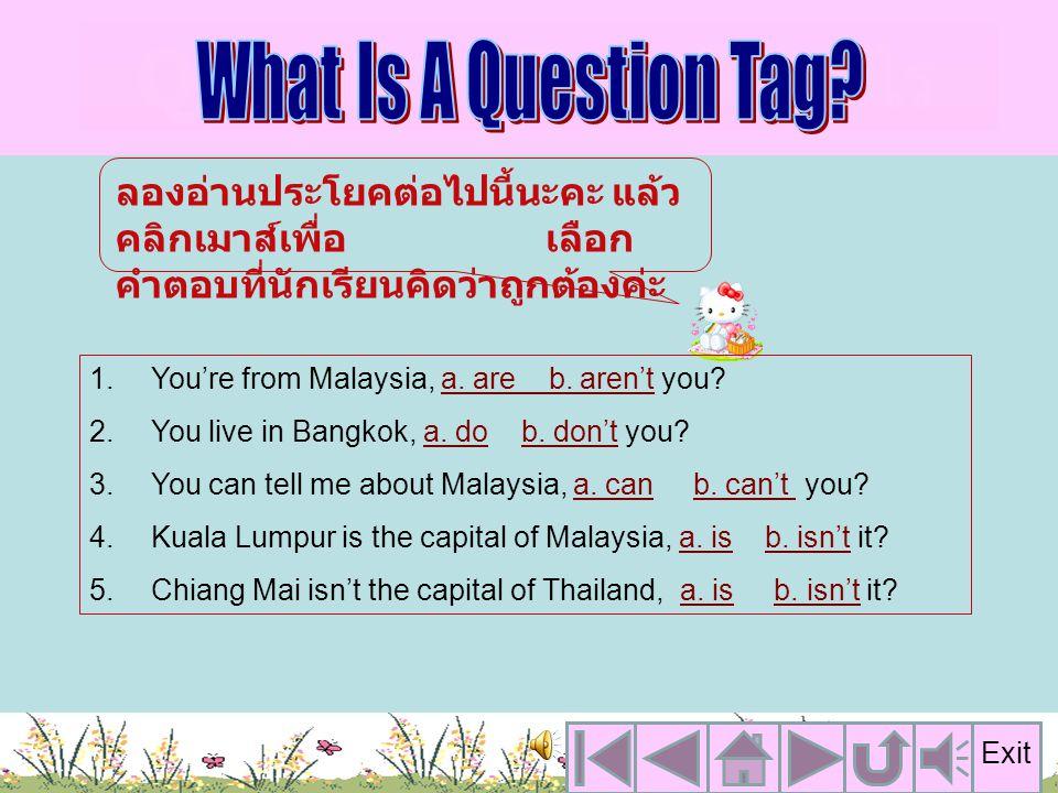 ลักษณะของประโยค Question Tag What Is A Question Tag? Reference Conclusion Test Yourself คลิกเพื่อ เลือกหัวข้อ ที่จะเรียนค่ะ Exit