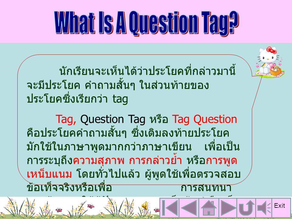 นักเรียนจะเห็นได้ว่าประโยคที่กล่าวมานี้ จะมีประโยค คำถามสั้นๆ ในส่วนท้ายของ ประโยคซึ่งเรียกว่า tag Tag, Question Tag หรือ Tag Question คือประโยคคำถามสั้นๆ ซึ่งเติมลงท้ายประโยค มักใช้ในภาษาพูดมากกว่าภาษาเขียน เพื่อเป็น การระบุถึงความสุภาพ การกล่าวย้ำ หรือการพูด เหน็บแนม โดยทั่วไปแล้ว ผู้พูดใช้เพื่อตรวจสอบ ข้อเท็จจริงหรือเพื่อ การสนทนา และต้องการให้ผู้ฟังแสดงความเห็นด้วยหรือเห็น สอดคล้องกับผู้พูด Exit
