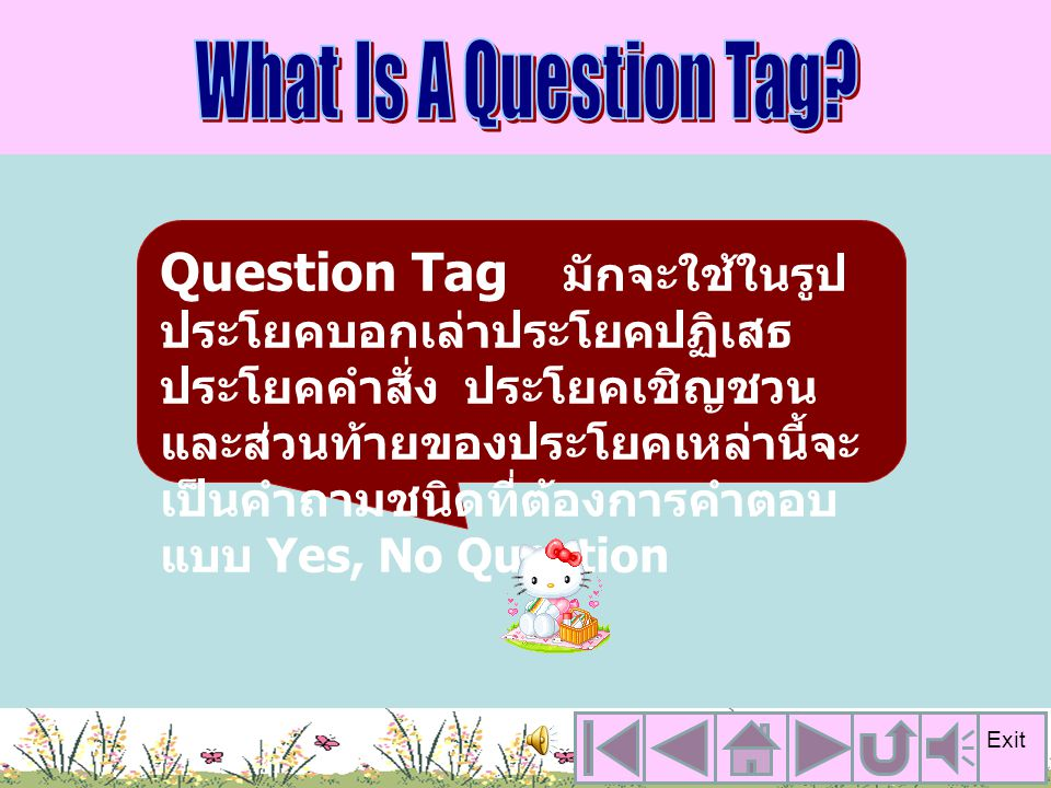 Question Tag มักจะใช้ในรูป ประโยคบอกเล่าประโยคปฏิเสธ ประโยคคำสั่ง ประโยคเชิญชวน และส่วนท้ายของประโยคเหล่านี้จะ เป็นคำถามชนิดที่ต้องการคำตอบ แบบ Yes, No Question Exit