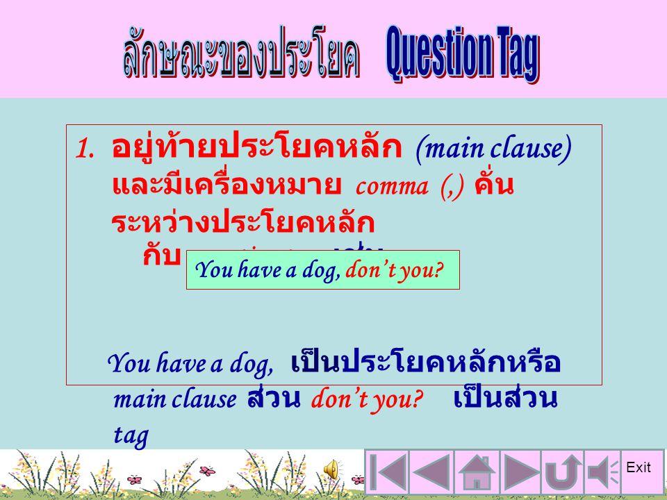Question Tag มักจะใช้ในรูป ประโยคบอกเล่าประโยคปฏิเสธ ประโยคคำสั่ง ประโยคเชิญชวน และส่วนท้ายของประโยคเหล่านี้จะ เป็นคำถามชนิดที่ต้องการคำตอบ แบบ Yes, N