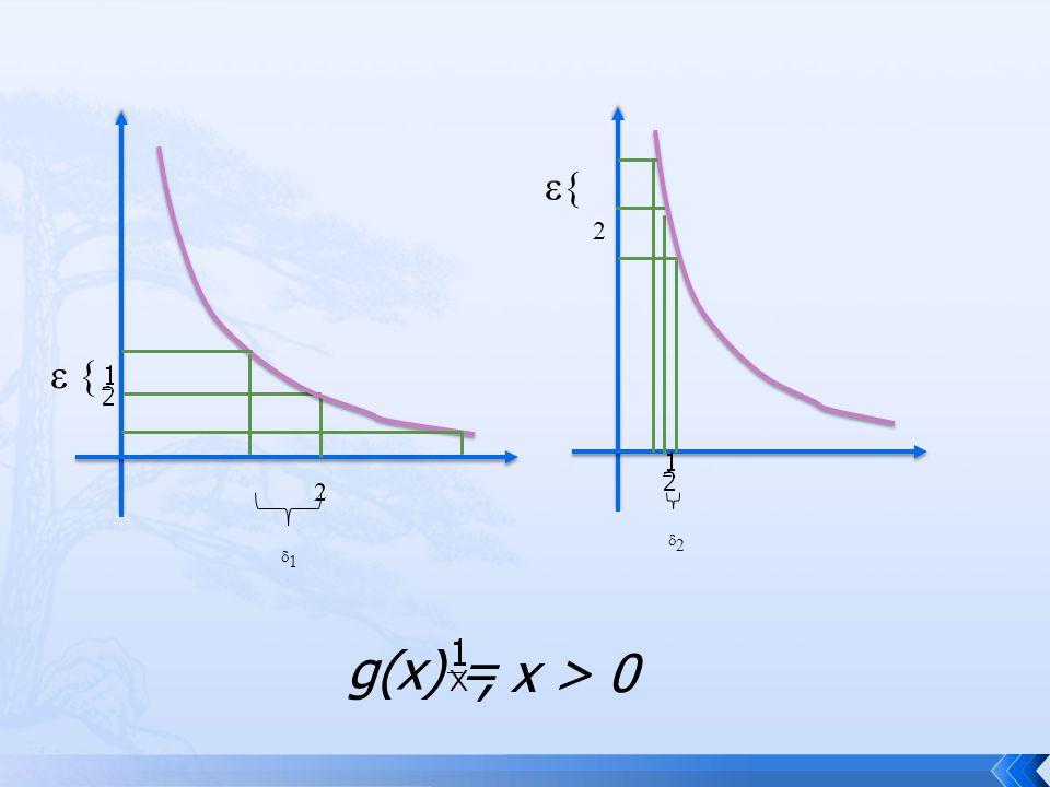 รูป แสดงกราฟ g(x) = ที่เมื่อกำหนด  สำหรับฟังก์ชัน g 2 กรณี เมื่อ x 0 = 2, g(2) = และ x 0 =, g() = 2 ค่า  ที่ใหญ่สามารถเลือกได้ต่างกัน และ ยิ่ง x 0 เข้าใกล้ 0 ค่า  จะเล็กมากๆเข้า ใกล้ 0 ด้วย