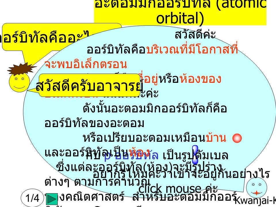 Kwanjai-KKU อะตอมมิกออร์บิทัล (atomic orbital) ออร์บิทัลคืออะไรครับ .